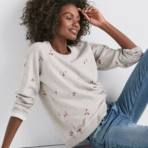 Lucky brand embroidered floral pullover sweater